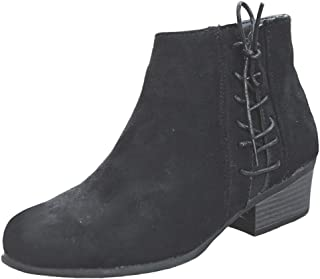 〓COOlCCI〓Ankle Boots for Women,Side Lace up Pointed Toe Winter Short Boots Low Stacked Heel Closed Toe Western Bootie