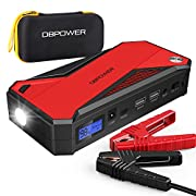 #LightningDeal DBPOWER 800A 18000mAh Portable Car Jump Starter (up to 7.2L Gas, 5.5L Diesel Engine) Battery Booster with Smart Charging Port, Compass, LCD Screen and LED Light (Black/Red)
