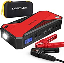 DBPOWER 800A 18000mAh Portable Car Jump Starter (up to 7.2L Gas, 5.5L Diesel Engine) Battery Booster with Smart Charging Port, Compass, LCD Screen and LED Light (Black/Red)