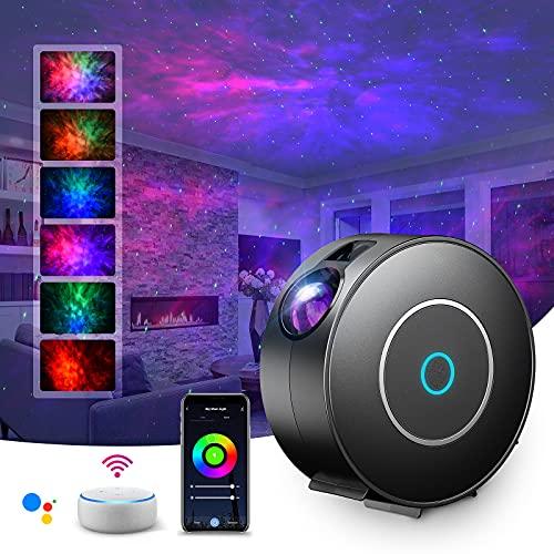 LED Alexa Proyector Estrellas, SUPPOU proyector de estrellas luz nocturna infantil,control de voz,sincronización,música,adecuado para niños/adultos,fiestas/dormitorios/bares/aniversario (Negro)
