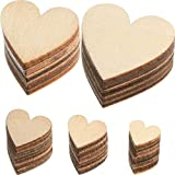 500 Pieces Wood Heart Cutouts Unfinished Wooden Heart Slices Blank Wood Heart Wood Slices Embellishments Ornaments for Christmas, Wedding, Valentine, DIY Supplies, 5 Sizes