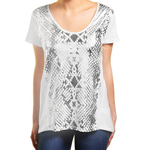 DKNY Jeans Womens Short Sleeve Scoop Neck Tee S Silver & White