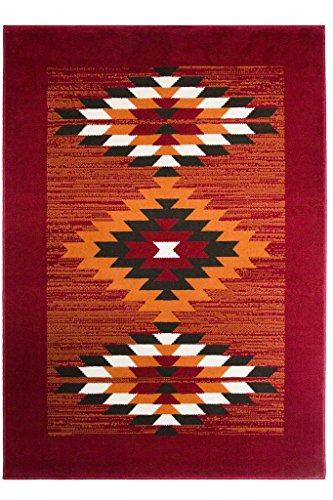 Milan Red Terracotta Brown & Off-White Boho Aztec Tribal Living Room Accent Area Rug - 120cm x 170cm