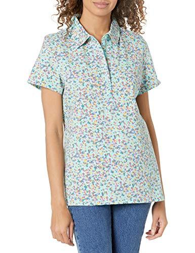 Gloria Vanderbilt Women's Annie Short Sleeve Polo Shirt, Flower Ceremony Seafoam, Medium Petite