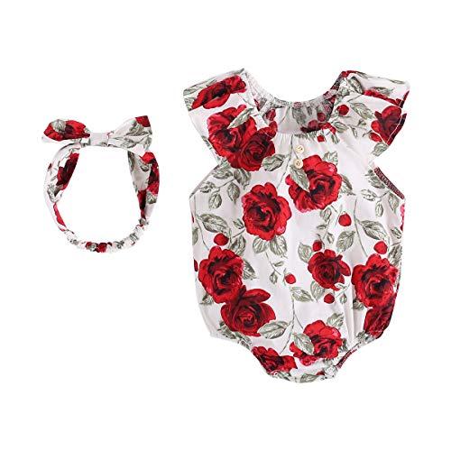 Sanlutoz Rose Floral Bébé Fille Le Maillot de Corps + Bandeau Mode Bébé Ensembles de vêtements (2-3 Ans, BRS9017)