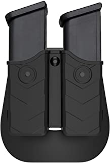 OWB Paddle Double Magazine Holder, Universal 9mm .40 Mag Holster, for Glock Smith & Wesson Sig Sauer H&K Ruger CZ Taurus Beretta and More Dual Stack Pistol Mag, Fast Draw Magazine Pouch