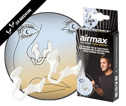 AIRMAX SPORT Medio | Dilatador nasal para una mejor respiración por la nariz. Optimización de oxígeno de 176%. Especialmente desarrollado para su uso durante el ejercicio. Airmax es utilizado por los atletas profesionales. Paquete Medio 1 + 1 gratis