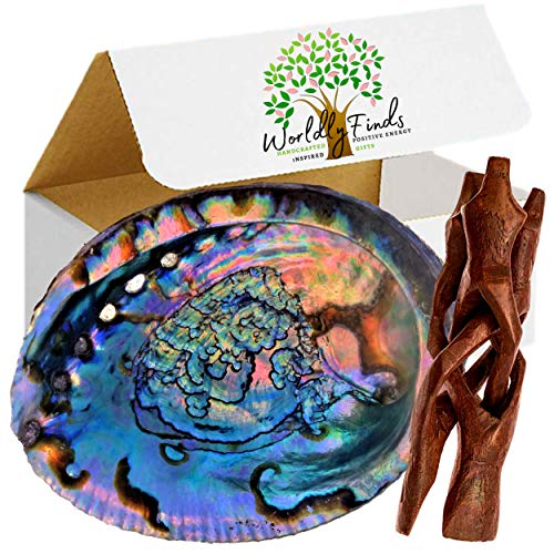 Beautiful Large Abalone Shell Smudge Bowl, Size Choices w/Wood Stand Option for Smudging, Sage Burning, Incense, Altar Supplies (6-7 Inches w/Stand)