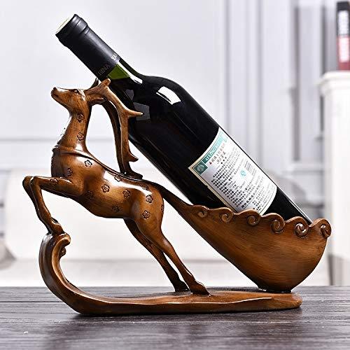 RUNNA Kreative Sika Rotwild-Form-Wein-Regal Abfluss Gestell Flaschenhalter Wohnzimmer verziert Geschenk Gute Qualität (Color : Wood)