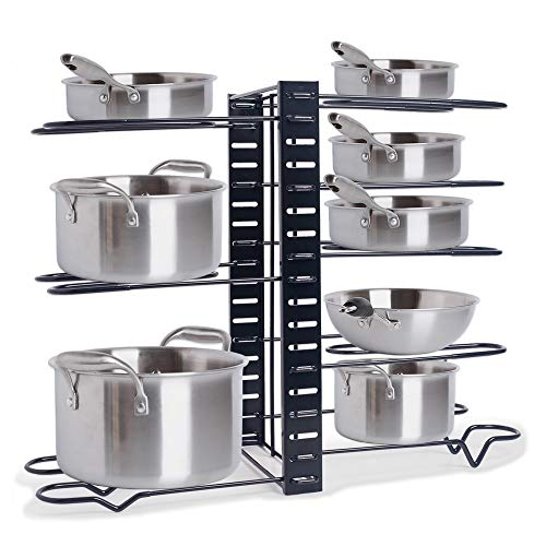 ZHOHO TANT Pot Rack Organizers 3 DIY Methods Adjustable Pan Rack Pot Lid Holder for Cabinet Kitchen Counter 8 Non-Slip Tiers Black Steel