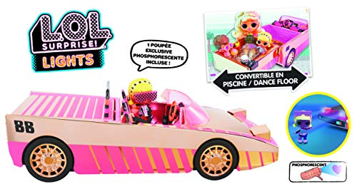 L.O.L. Surprise Lights Car-Pool Coupe with 1 Exclusive 8 cm Doll, Black Light, Transformable Chest, Glow in the Dark Doll, Accessories, Batteries Not Included, Toy for Children 3 Years, LLUB7
