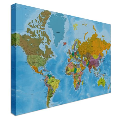 Where To Buy A World Map World Map Highest Detail Online Hi Res quality Canvas Wall Art