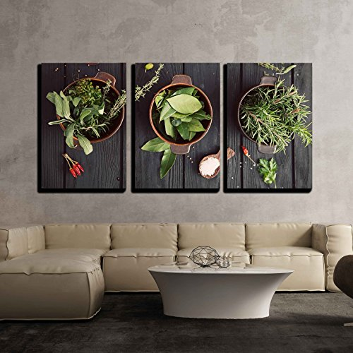 "wall26 - 3 Piece Canvas Wall Art - Mediterranean Herbs and Ingredients: Rosemary, Thyme, Sage, Salt, Oregano - Modern Home Decor Stretched and Framed Ready to Hang - 16""x24""x3 Panels"