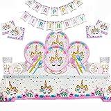 114 Piezas Vajilla de Unicornio Juego de Platos Desechables, Suministros de Fiesta de Unicornio, Sirve 16 Invitados, con Platos, Pancartas, Tazas, Servilletas, Manteles, Tenedores, Cucharas, Cuchillos