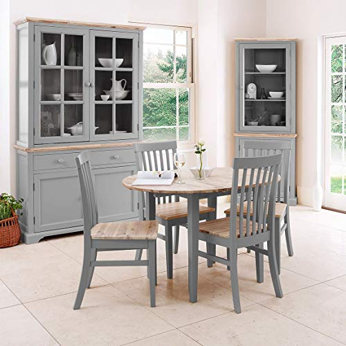 Florence grey extending kitchen dining table and 4 acacia seat chairs. Quality table and chair set with hidden center extension leaf.
