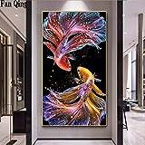 HAODGUO Peinture 5D Paysage pleine de diamants - Motif : forêt - Fleurs rondes - Mosaïque -...