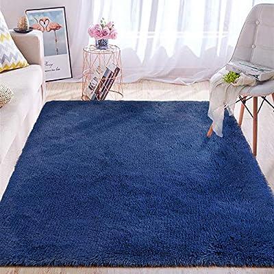 Wondo Soft Shaggy Area Rugs Modern Fluffy Bedroom Rug for Kids Nursery Girls Boys Super Comfy Shag Fur Carpets Living Room Furry Home Decor Rugs, 5.3x7.6 Feet Light Navy