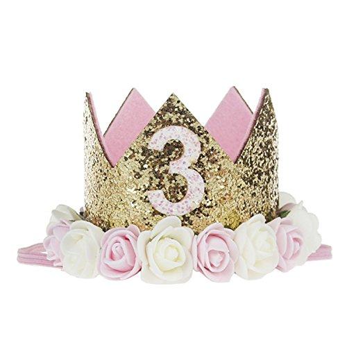 COUXILY 1 Stk Geburtstag - krone Stirnbänder Baby Birthday Tiara Mädchen Glänzend Krone Geschenksets Haarband (FG03)
