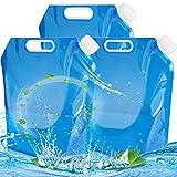 BESTZY 3 Pack Recipiente de Agua Plegable,2 x 10 L Bidón de Agua Plegable,Bolsa de Agua,Plegable,depósito de Agua,Almacenamiento (3 juegos/30 L)