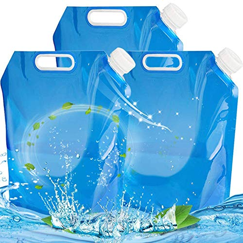 BESTZY 3 Pack Recipiente de Agua Plegable,2 x 10 L Bidón de Agua Plegable,Bolsa de Agua,Plegable,depósito de Agua,Almacenamiento (3 juegos 30 L)