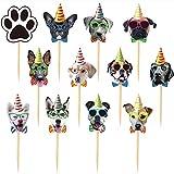 24 PCS Dog Face Cupcake Toppers Dog Cake...