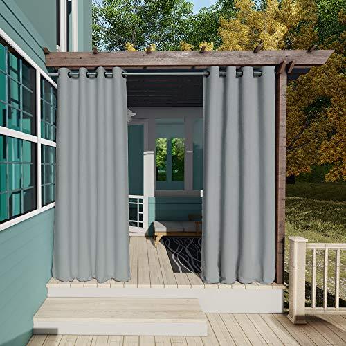 Clothink Outdoor Vorhänge Aussenvorhang Garten Verdunkelung Outdoor Gardinen 132x215cm(B x H) Grau Blickdicht Winddicht Wasserabweisend Sichtschutz Sonnenschutz UVschutz