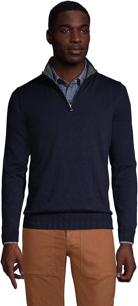 Lands' End Men's Fine Gauge Supima Cotton Quarter Zip Sweater