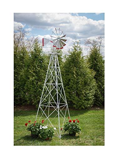 10 Ft Premium Aluminum Decorative Garden Windmill- Red Trim