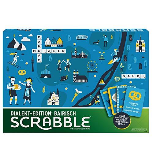 Mattel Games GPW44 - Scrabble Dialekt Edition Bayern Wörterspiel und Brettspiel geeignet für 2 - 4 Spieler, Gesellschaftsspiele und Wortspiele ab 16 Jahren