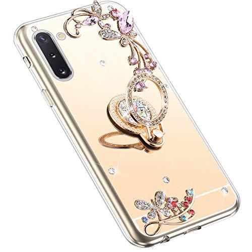 Uposao Kompatibel mit Samsung Galaxy Note 10 Hülle Glitzer Spiegel TPU Schutzhülle Bling Strass Diamant Silikon Hülle Glänzend Kristall Blumen Silikon Handyhülle mit Ring Ständer Halter,Gold