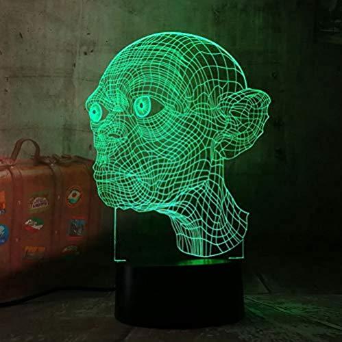 El Señor de los Anillos Gollum 3D LED Noche Luz Novedad 7 Colores Control Remoto USB Multicolor Lámpara de Escritorio Decoración del Hogar Regalo