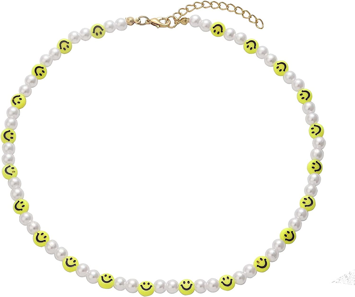 Pearl Choker Necklace for Women Smiley Face Pearl Necklace Colorful Initial Letter Summer Y2K Collar Necklaces Bohemian Bead Pearl Choker Necklace For Teen Girls