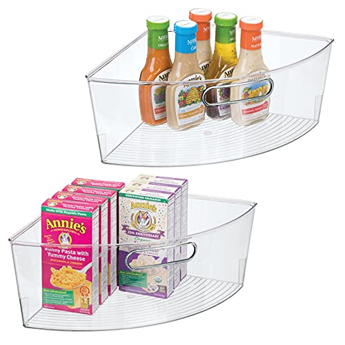 mDesign Kitchen Cabinet Plastic Lazy Susan Storage Organizer Bins with Front Handle - Large Pie-Shaped 1/4 Wedge, 6' Deep Container - 2 Pack - Clear