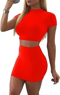 Women's Casual 2 Piece Short Sleeve Crop Top Bodycon Skirt Set