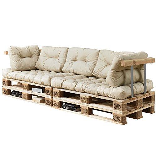 [en.casa] Palettenkissen - 7-teilig - Sitzpolster + Rückenkissen [Creme] Paletten-Sofa In/Outdoor
