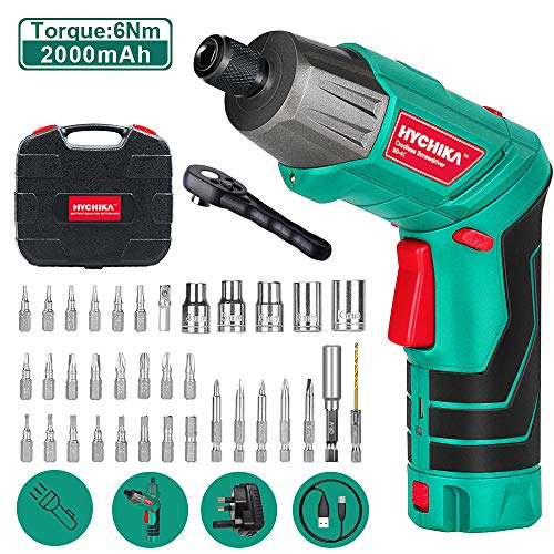 Electric Screwdriver, 6N·m Max Torque HYCHIKA Cordless Screwdriver 2000mAh 3.6V with 36...