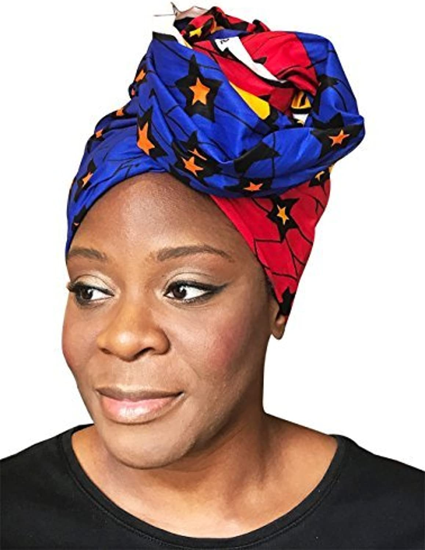 African Head Wrap Tribal Scarf Gele. Stylish Headgear Made Of Ankara Stars Fabric