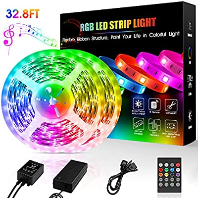 LED Strip Lights,32.8ft Flexible Light Strip SMD 5050 RGB with 20 Keys Remote Sync to Music,Color Changing LED Lights for Room,Bedroom,TV,Home Party and DIY Decoration