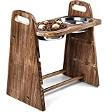 Emfogo Dog Bowls Elevated 3 Heights 4in 8in 13in Rustic Wood Elevated Dog Cat Dishes with Double Stainless Steel Dog Food Bowls Stand Raised Pet Feeder 16.7x15.5 inch Carbonized Black [U.S .Patent]