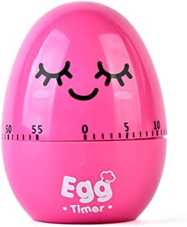 Cute Cartoon Egg Machinery Timers 60 Minutes Mechanical Kitchen Cooking Timer Clock Loud Alarm Counters Mini Size Manual Timer (Rose)
