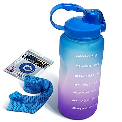 Owill Botellas de agua de 2 litros, botella de agua con marcador de tiempo motivacional con pajita, Tritan a prueba de fugas sin BPA, para fitness, gimnasio y deportes al aire libre