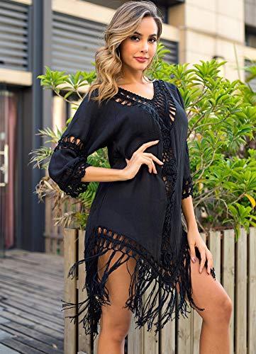 Ordes Vêtements de Plage, ins Pompon en Plein Vent arrière Couverture Plage avec Crochet à la Main (Taille Unique),Noir
