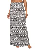 EXCHIC Women's Bohemian Style Print Long Maxi Skirt (M, 8)