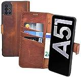 Suncase Book-Style Hülle kompatibel mit Samsung Galaxy A51 Leder Tasche (Slim-Fit) Lederhülle Handytasche Schutzhülle Hülle mit 3 Kartenfächer in antik-Coffee