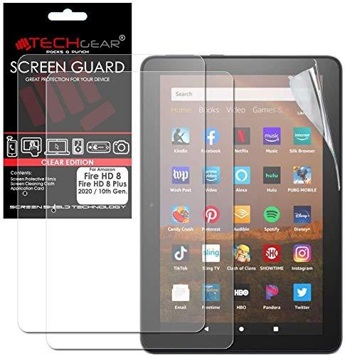 TECHGEAR 2 Stück Bildschirmschutz für Amazon Fire HD 8 / HD 8 Plus 2020 (8,0 Zoll) Folie - Ultra Klare Film Schutzfolie für Kindle Fire HD 8 10. Generation 2020 [HD8 2020]