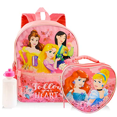 Disney Princess Backpack and Lunch Box Set for Girls Kids ~ Deluxe 16' Princess Backpack with Lunch Bag and Water Bottle (Disney Princess School Supplies)