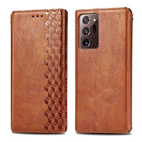Funda para Samsung Galaxy Note 20 Ultra, funda de silicona premium de piel de poliuretano, con tapa, cierre magnético, función atril, diseño de cocodrilo marrón 42