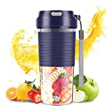 SZMDLX Portable Blender, Cordless Mini Personal Blender USB Rechargeable Juicer Cup, 300mL Waterproof Fruit Mixing Machine Baby Travel Home Office Sports Outdoors, BPA Free (Blue)