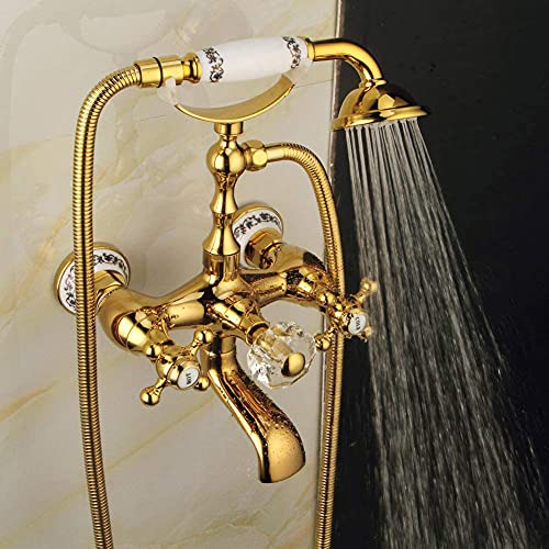 BFDMY Grifo de bañera Vintage Azul y Blanco Porcelana Estilo Europeo, Dorado Conjunto de Ducha de Latón DuraderaRedondo Ducha de Mano Montado en La Pared Mezclador,Oro