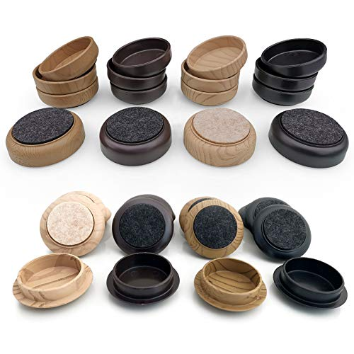 Filzuntersetzer/Rollen – schützen Sie Holz Laminat, Holz, Fliesen & Lino Böden vor Kratzern (4 x groß 66 mm, schwarz)